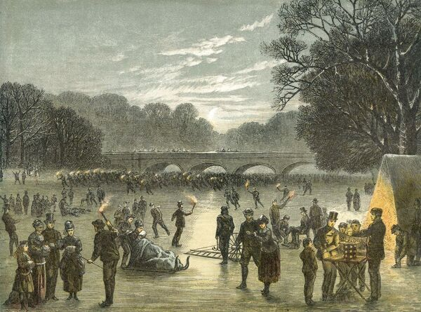 MAYSON BEETON COLLECTION. Hyde Park. Skating on the Serpentine, c.1850. Chiaroscuro woodcut in black and three colours