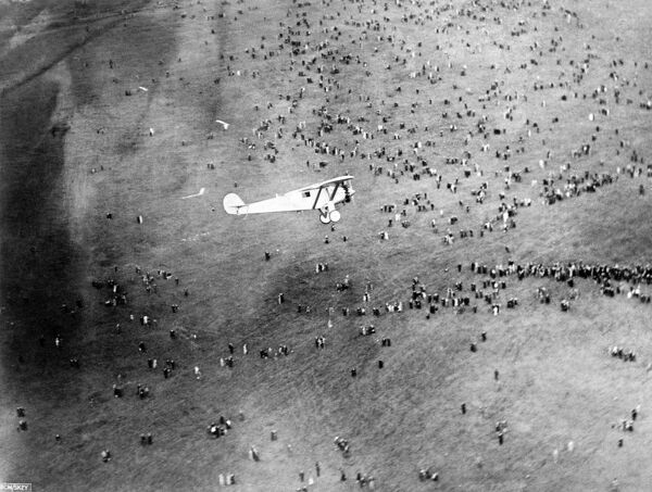 Charles Lindbergh and the Spirit of St Louis coming in to land at Croydon Aerodrome, 29th May 1927 having flown in from Brussels