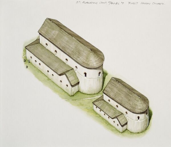 ST AUGUSTINE'S ABBEY, Canterbury, Kent. Reconstruction drawing of the first saxon church. Watercolour by Peter URMSTON