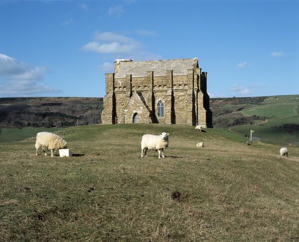 ST CATHERINE'S CHAPEL, Abbotsbury, Dorset. Exterior view with sheep in the foreground