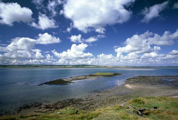 ST CUTHBERT'S ISLE, Lindisfarne, Northumberland. View of isle from the coastline