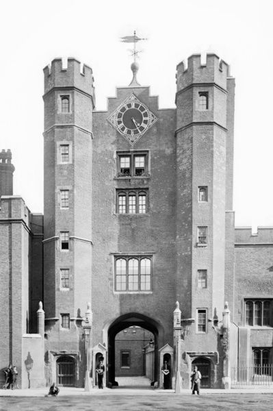 ST JAMES' PALACE, Westminster, London. Exterior view of the gatehouse. This is the only part of the original palace built by Henry VIII to survive. Photograph by York and Son (1870-1900)