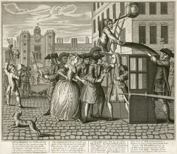 MAYSON BEETON COLLECTION. St James Palace, London 1740. Satirical print. Engraving from the Mayson Beeton Collection