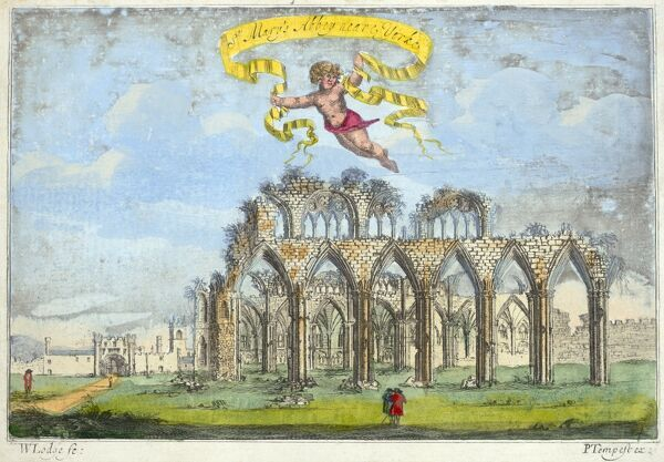 "MAYSON BEETON COLLECTION. St Marys Abbey, York. ""St Mary's Abbey near York"", showing the ruined arcades with a gatehouse in the distance. Line coloured engraving dated 1720"