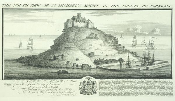 ST MICHAELS MOUNT, Marazion, Cornwall. ' The North View of St Michael's Mount in the County of Cornwall' by Samuel and Nathaniel Buck, 1736
