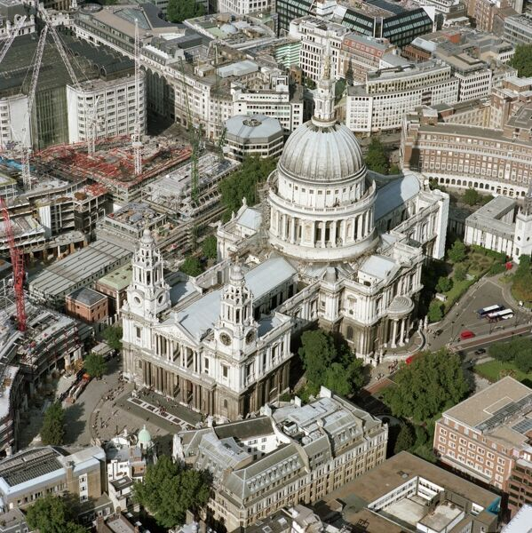 ST PAUL'S CATHEDRAL, London. Aerial view of St Pauls and surrounding City landscape