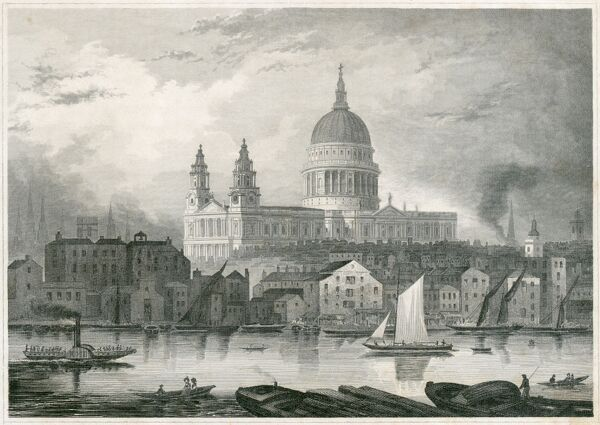 "ST PAUL'S CATHEDRAL, St Paul's Churchyard, City of London. ""Die Paulskirche im London."" View from the River Thames with boats. German engraving dated 1850. From the Mayson Beeton Collection"