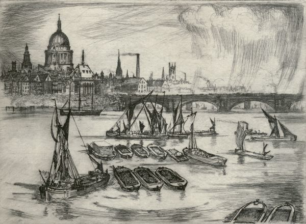 ST PAUL'S CATHEDRAL, St Paul's Churchyard, City of London. View showing Blackfriars Bridge and the River Thames with boats. Charcoal sketch by E Wilson, City of London School, 1914. From the Mayson Beeton Collection