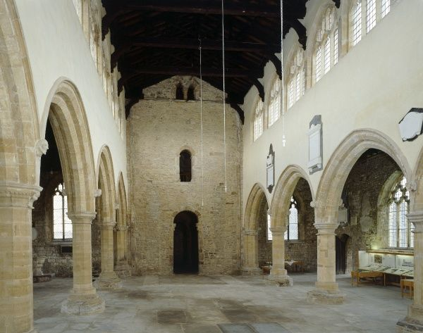 ST PETER'S CHURCH, Barton-upon-Humber, North Lincolnshire. Interior view looking West down the Nave towards the original Anglo-Saxon remains. Anglo Saxon