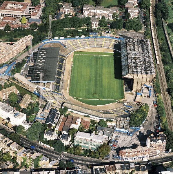 STAMFORD BRIDGE STADIUM, London. Aerial view. Home of Chelsea Football Club in 1992. Around this time Chelsea Village Ltd and Ken Bates won control of the club leading to a major redevelopment of the ground. This is also the year the Premiership was founded