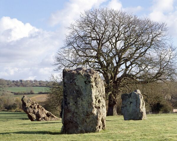STANTON DREW CIRCLES AND COVE, Bath & NE Somerset. View of the standing stones. Also the site of Britain's largest prehistoric timber circle discovered September 1997