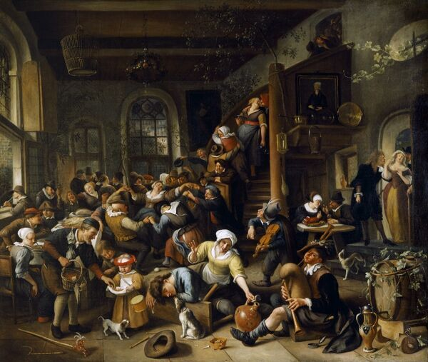 "APSLEY HOUSE, London. "" The Egg Dance: Peasants Merrymaking in an Inn "" by Jan STEEN (1625/6-79)"