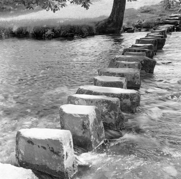 AMBLESIDE, Lake District, Cumbria. General view of stepping stones in Ambleside. Photographed by Eric de Mare (active 1945-80)