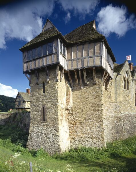 STOKESAY CASTLE, Shropshire. A 13th century fortified manor house. View of the north tower of the West Range from the north west