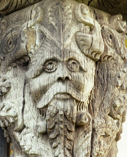 STOKESAY CASTLE, Shropshire. Detail of carved head on the 17th century gatehouse corner post