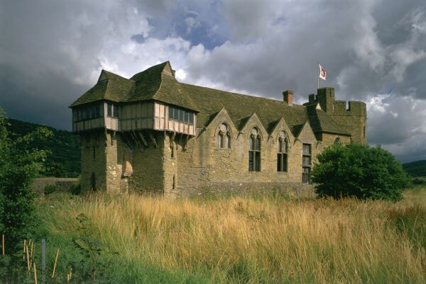 STOKESAY CASTLE, Shropshire. Exterior view on cloudy day