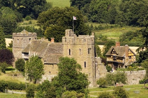 STOKESAY CASTLE, Shropshire. General view of the castle from a distance showing the South Tower and Gatehouse