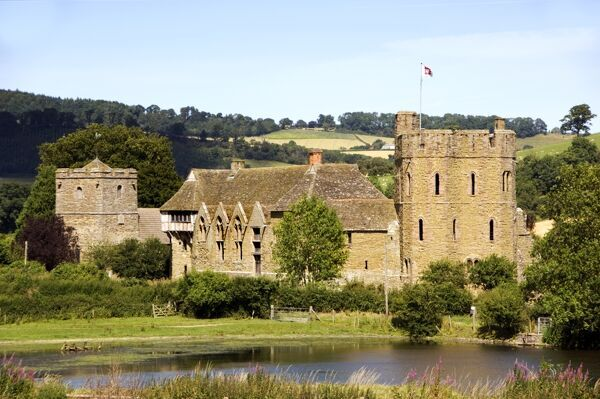 STOKESAY CASTLE, Shropshire. View from the south west across the pond showing the South Tower and West Range