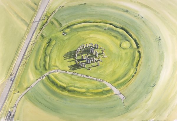 STONEHENGE, Wiltshire. 2005 aerial view reconstruction painting by Peter Dunn, English Heritage Graphics Team
