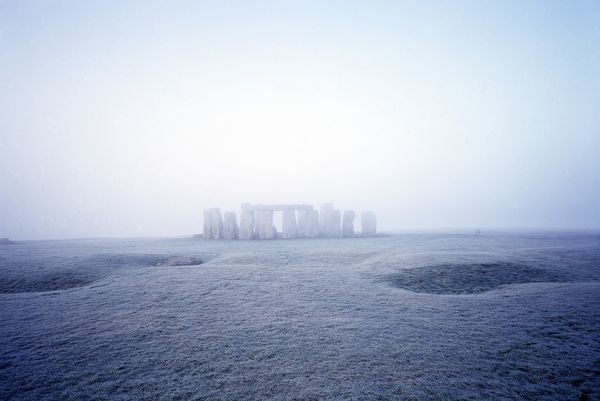 STONEHENGE, Wiltshire. Misty view from the North East
