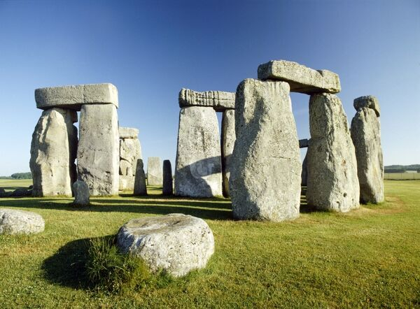 STONEHENGE, Wiltshire. Detailed view of the stones from the south