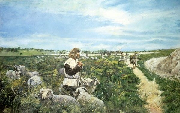 STONEHENGE, Wiltshire. Livestock farming and Blue Stones in the distance shortly after 2500 BC. Reconstruction drawing by Ivan LAPPER