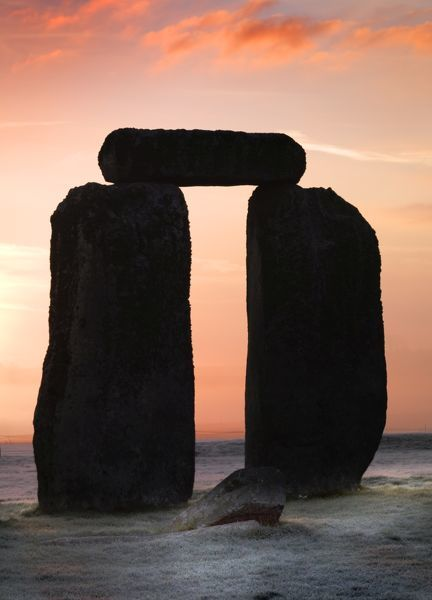 STONEHENGE, Wiltshire. View of Trilithon at early dawn