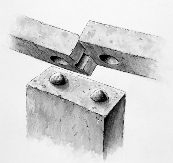 STONEHENGE, Wiltshire. Reconstruction drawing by Peter Dunn (English Heritage Graphics Team) showing joints on the outer sarsen circle, with mortice and tenon joint locking the uprights to the lintels and tongue and groove joint locking the