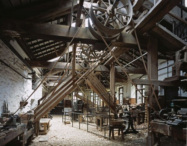 STOTT PARK BOBBIN MILL, Finthswaite, Lakeside, Cumbria. Interior view of the main lathe workshop