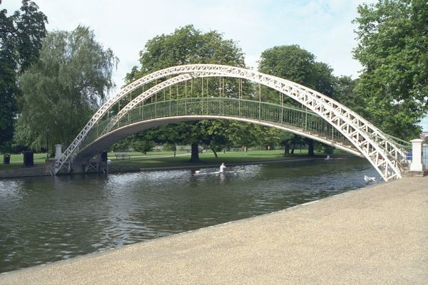 Footbridge over the River Great Ouse in Bedford dated 1888