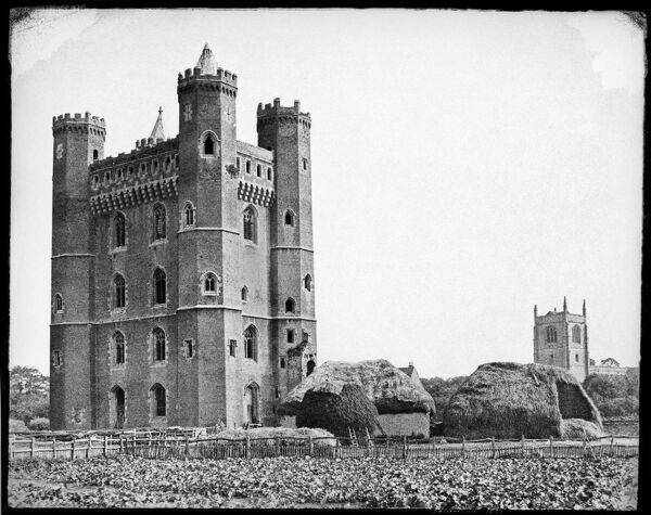 Tattershall Castle, Tattershall, Lincolnshire, 1857. Attributed to Henry D Taylor (b 1814), paper negative. A rare example of a fortified medieval house, the brick tower was built between the 1430s and 1440s on the site of a 13th century castle
