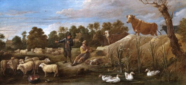 "APSLEY HOUSE, London. ""Landscape with two shepherds, cattle and ducks' by David TENIERS the younger (1610-90). Spanish Royal Collection. Captured at Vitoria, 1813. WM 1589-1948"