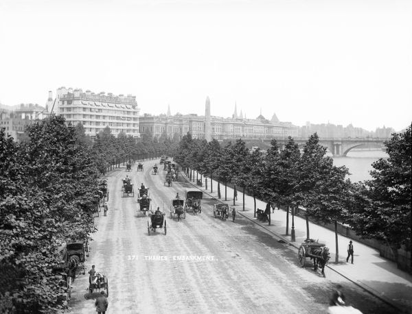 THAMES EMBANKMENT, Westminster, London. Street view looking north east with Cleopatra's Needle and Waterloo Bridge in the background. York and Son. Date range: 1870-1900