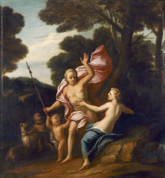 "ELTHAM PALACE, London. ""Venus and Adonis"" c.1705 by Sir James THORNHILL (1675-1734). Oil on canvas. One of a group of paintings originally made as overmantels and overdoors for Stoke Edith, Herefordshire"