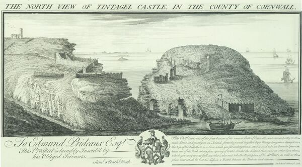 TINTAGEL CASTLE, Cornwall. ' The North View of Tintagel Castle in the County of Cornwall' by Samuel and Nathaniel Buck, 1734