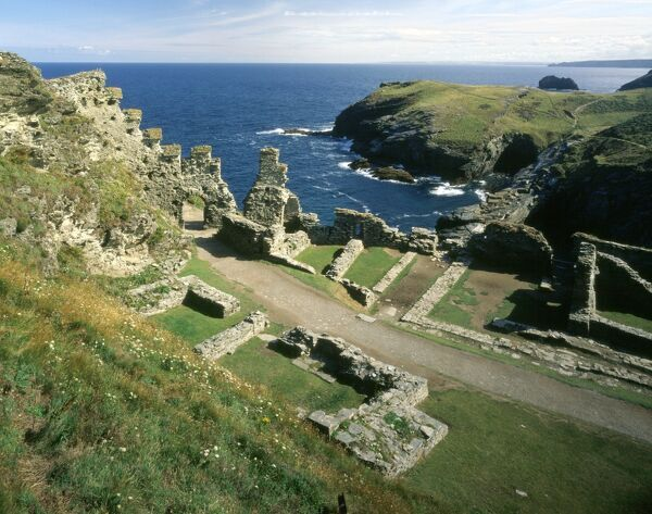 TINTAGEL CASTLE, Cornwall. View of inner ward showing the North Gate & part of the Great Hall with sea beyond