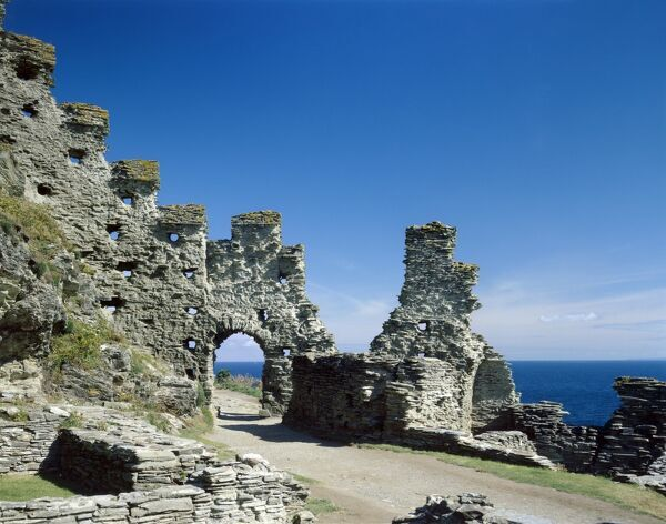 TINTAGEL CASTLE, Cornwall. Close-up view of castle walls with the sea behind
