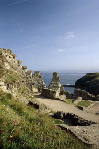 TINTAGEL CASTLE, Cornwall. The Island Courtyard. View of the inner ward showing the North gate and part of the great hall
