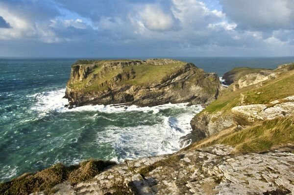 TINTAGEL CASTLE, Cornwall. View towards Tintagel Island