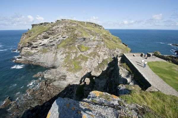 TINTAGEL CASTLE, Cornwall. View of the headland from the mainland Courtyard