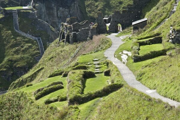 TINTAGEL CASTLE, Cornwall. The Dark Age houses