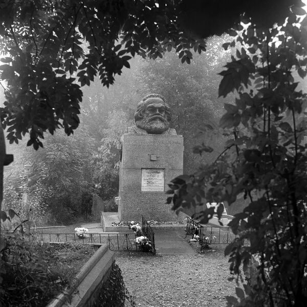 HIGHGATE CEMETERY, Hampstead, London. A view towards the tomb of Karl Marx, the political philospher who died in London in 1883. He was originally buried elsewhere in the East Cemetery, but his remains were moved to the current grave in 1954