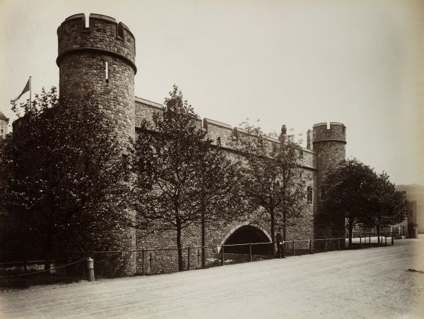 TOWER OF LONDON. St Thomas' Tower and Traitors Gate from the south west, showing the restoration works by Anthony Salvin. Photographed in 1889 by Bedford Lemere
