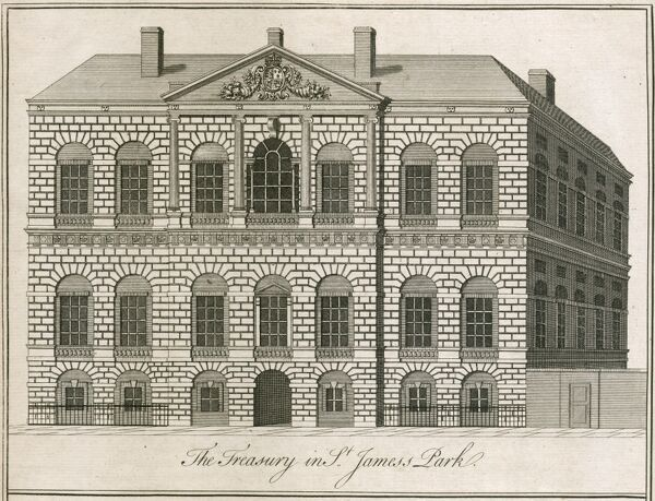 The Treasury in St Jamesa€™s Park, Westminster, London. The Treasury was built 1733-36 by William Kent. Engraving of 1750 by B. Cole. Mayson Beeton Collection