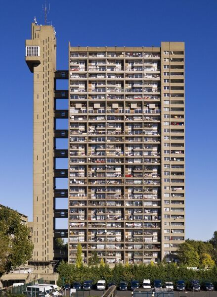 Trellick Tower, 5 Goldborne Road, North Kensington, London. 1968-72 by Erno Goldfinger. General view of elevation