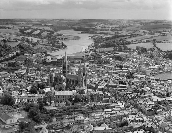 Truro and Cathedral, Cornwall. The Gothic Revival Cathedral was begun in the 1880s. Aerial view by Aeropictorial. Aerofilms Collection. July 1946