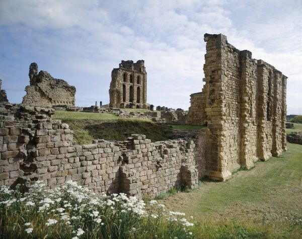 TYNEMOUTH PRIORY, Tyne and Wear. View from the South side of the Church, looking over the Cloister and Dining Hall