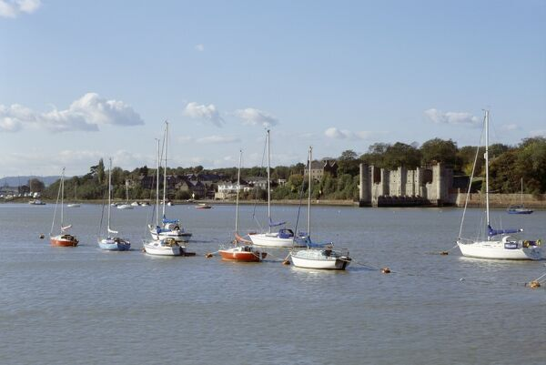 UPNOR CASTLE, Kent. General view of the castle from across the River Medway