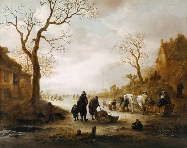 "KENWOOD HOUSE, THE IVEAGH BEQUEST, London. ""A Canal in Winter"" by Isack VAN OSTADE (1621-49). IBK 953"