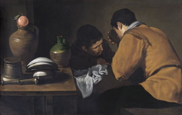 "APSLEY HOUSE, London. ""Two Young Men Eating at a Humble Table"" c1618-20 by Diego da Silva VELAZQUEZ (1599-1660)"